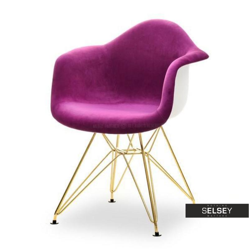 Krzesło MPA rod tap fioletowo-złoty welurowy
