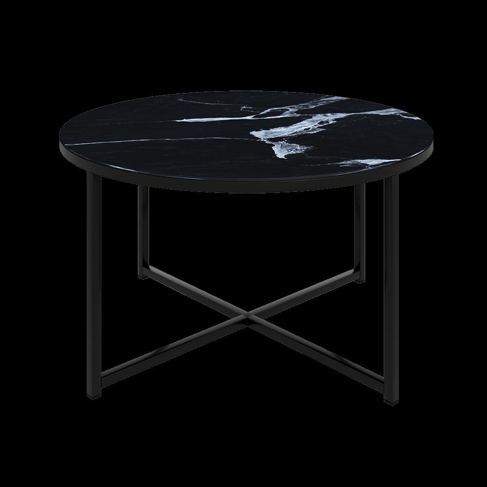 Stolik kawowy Alisma o średnicy 80 cm - czarna podstawa