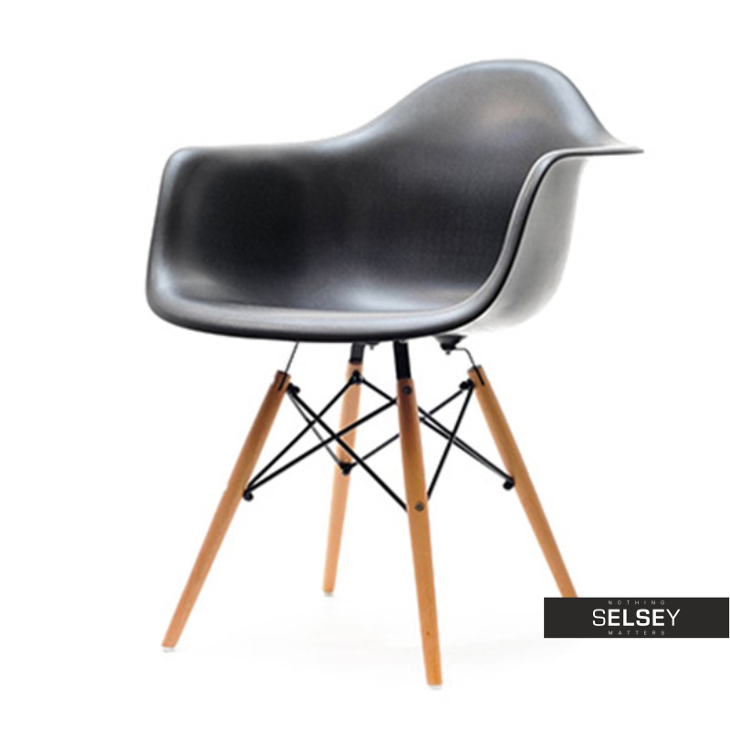 Krzesło MPA wood czarne na drewnianych nogach