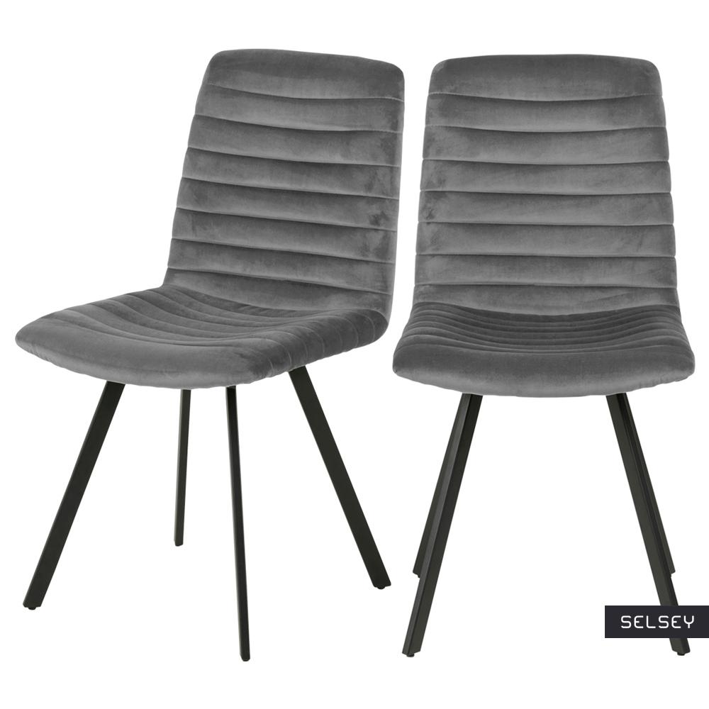 Zestaw dwóch krzeseł tapicerowanych Kimmy ciemnoszare na metalowych czarnych nogach