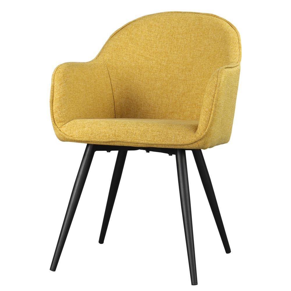 Krzesło tapicerowane Bill miodowe na czarnych nogach ze stali