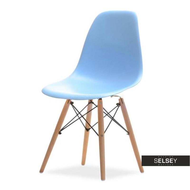Krzesło MPC wood niebieskie na drewnianych nóżkach