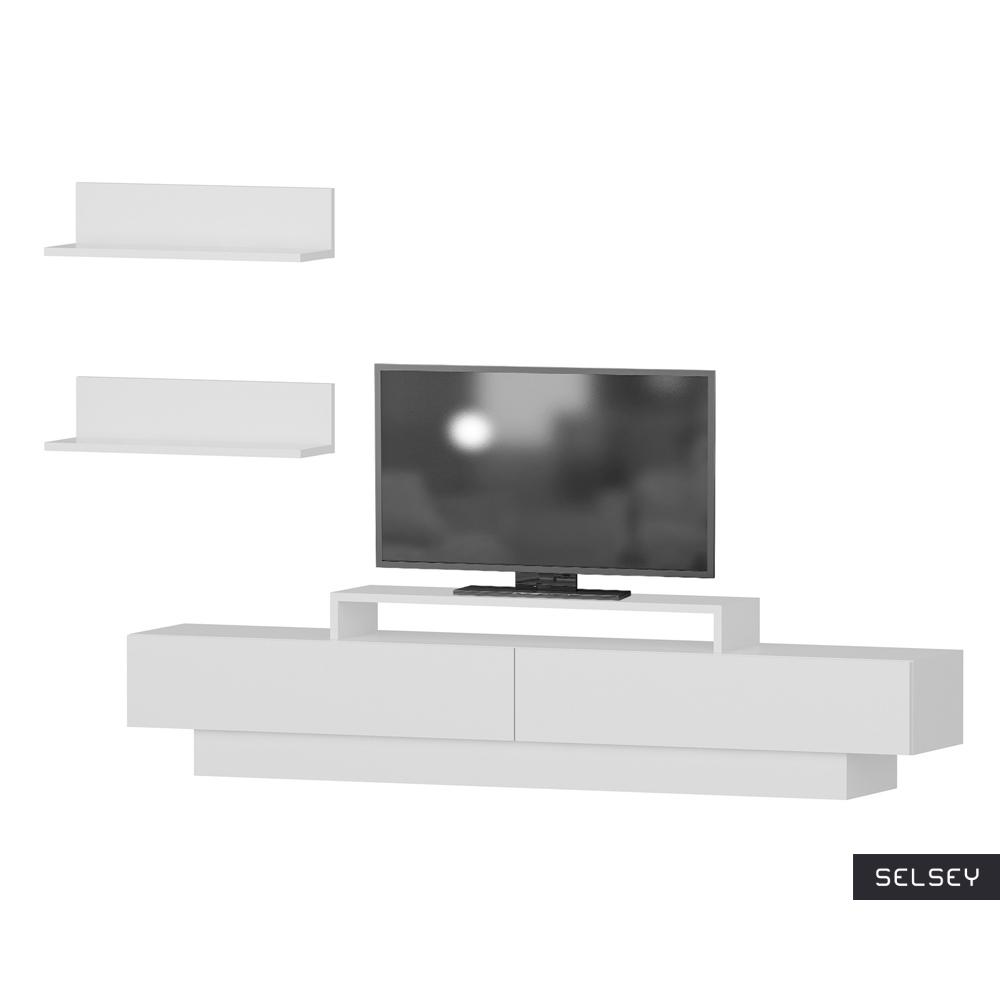 Szafka RTV Rigo biała z dwiema pólkami naściennymi