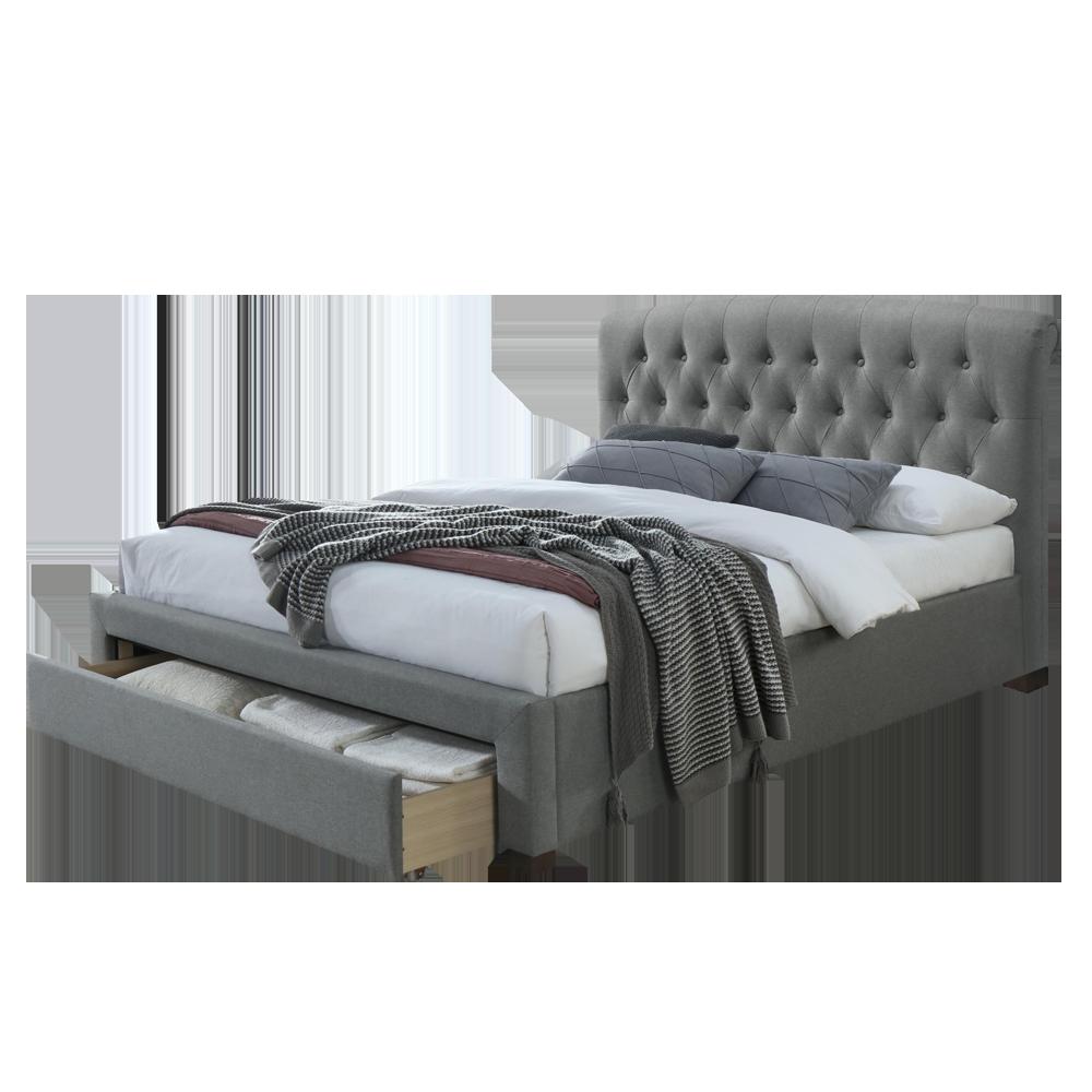 Łóżko tapicerowane Zion szare