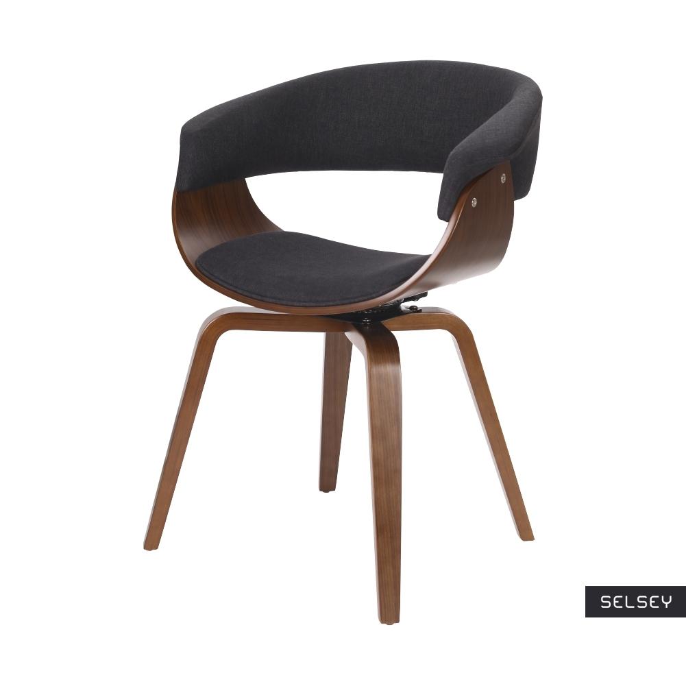 Krzesło tapicerowane Asarlo czarne na orzechowych nogach