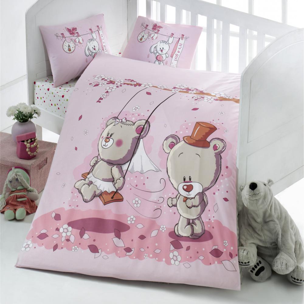 Dziecięca pościel do łóżeczka Bears' Wedding 100x150 cm z dwiema poszewkami na poduszkę 35x45 cm i z prześcieradłem