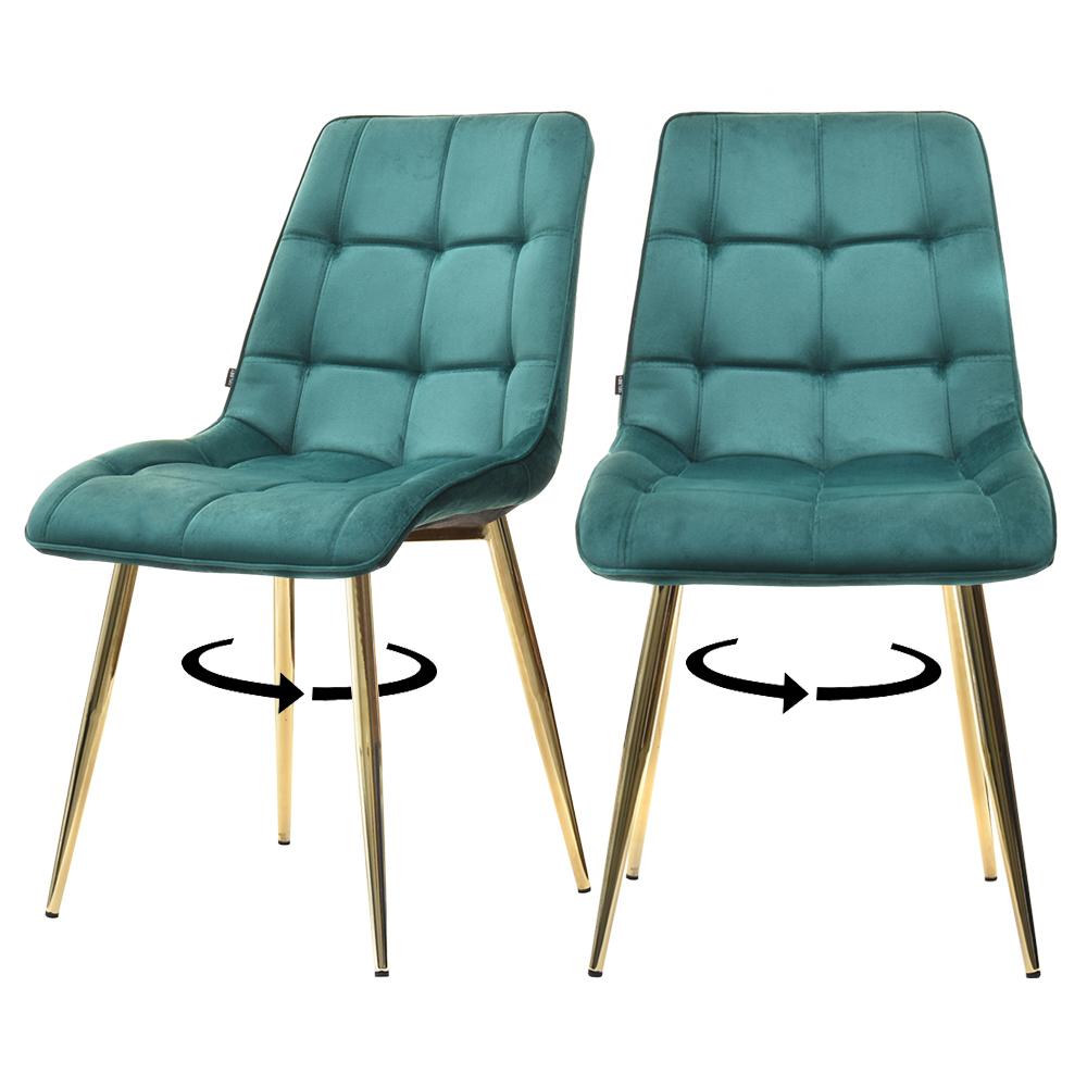 Zestaw dwóch krzeseł  tapicerowanych Briare zielone na złotej podstawie obrotowe
