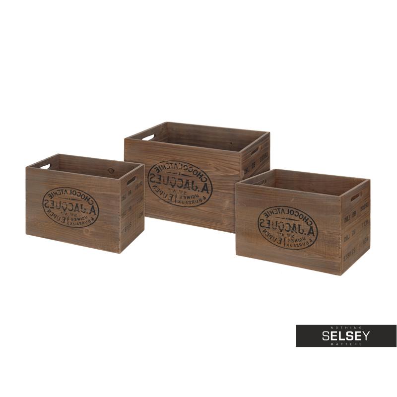Komplet drewnianych skrzynek Jacques brązowy