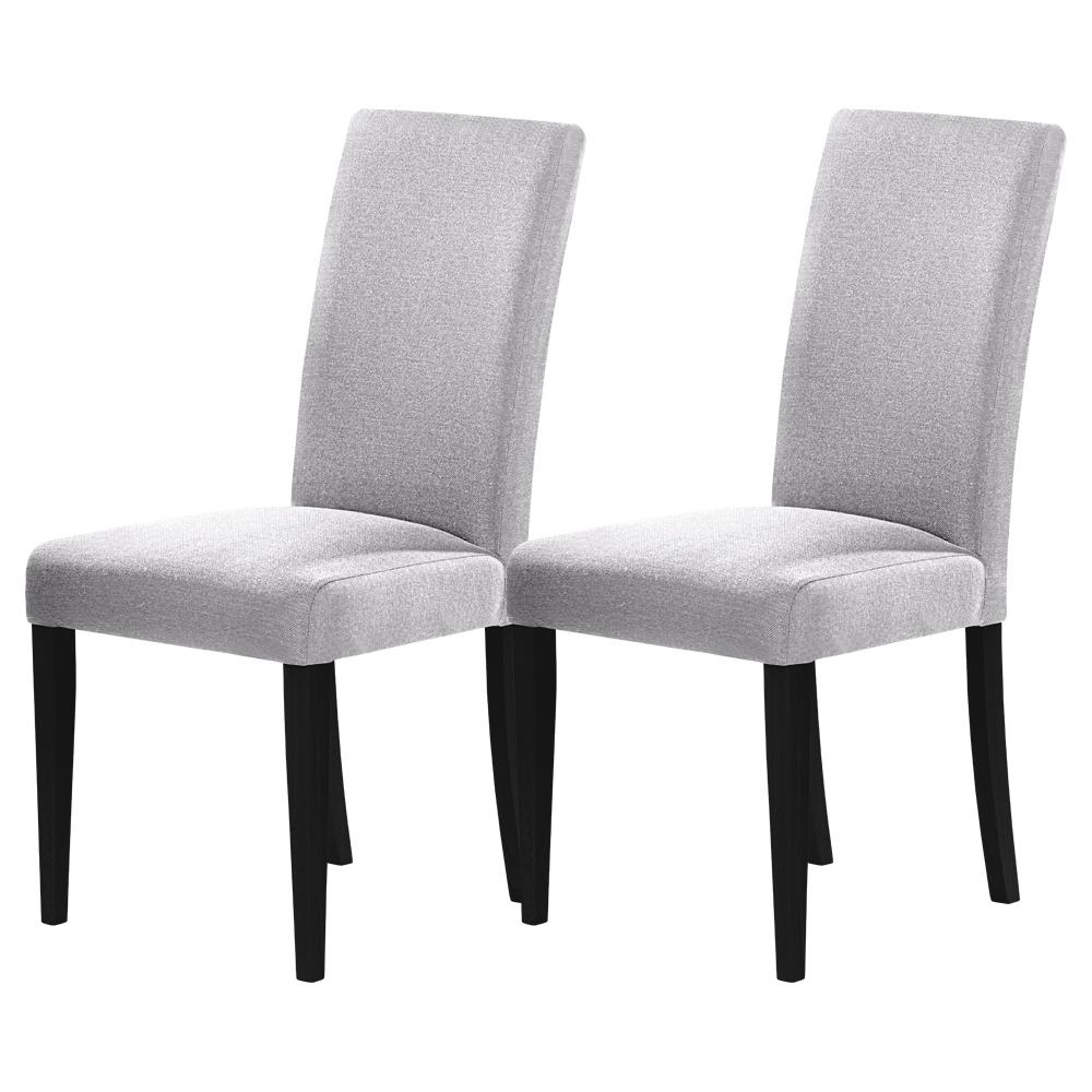 Zestaw dwóch krzeseł tapicerowanych Aterin szare na czarnej podstawie