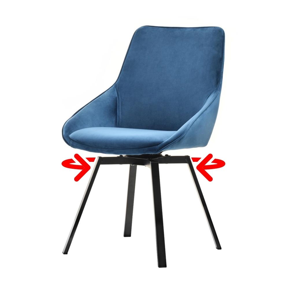 Krzesło Yanii niebieskie na czarnej podstawie