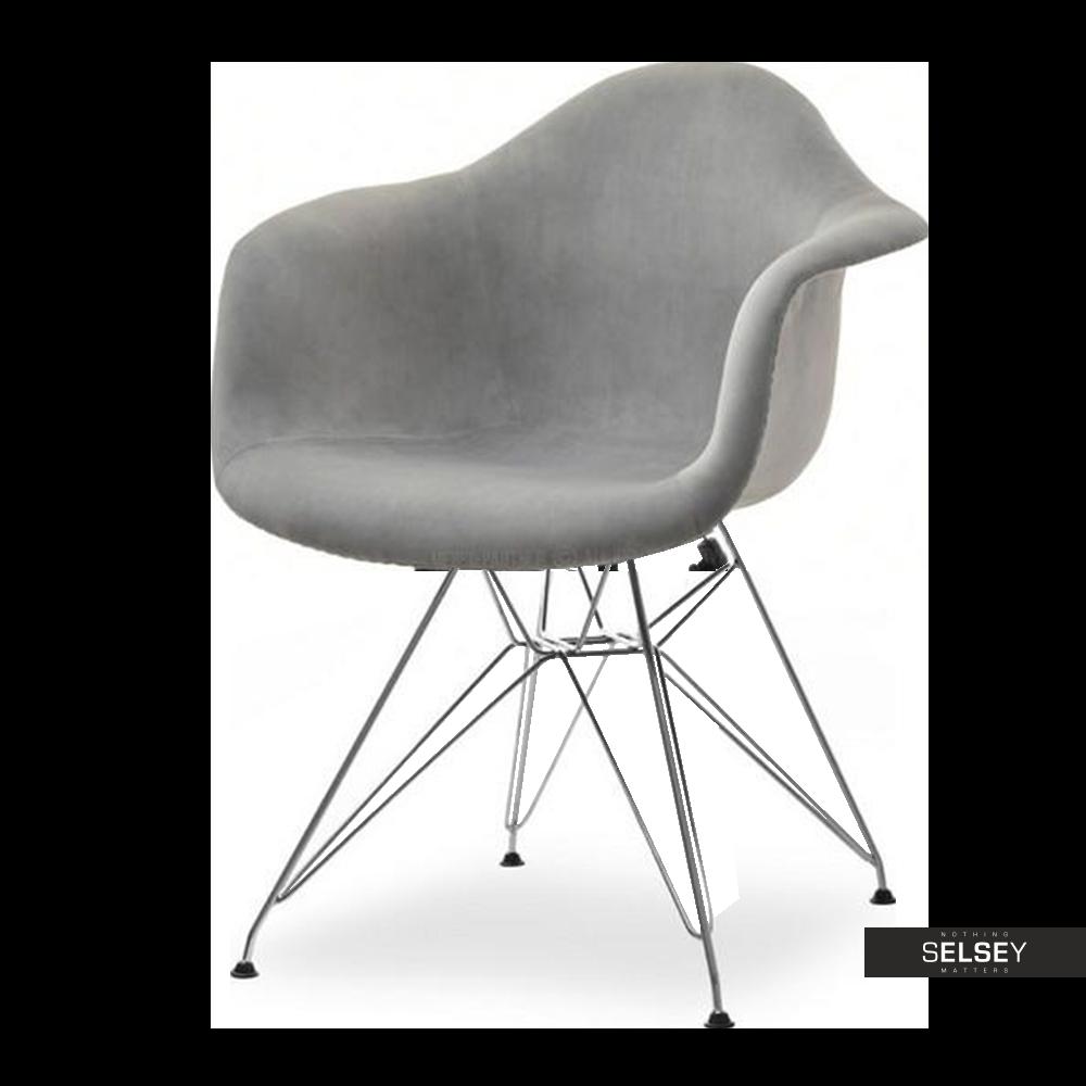 Krzesło MPA rod tap szare na chromowanej podstawie velvet