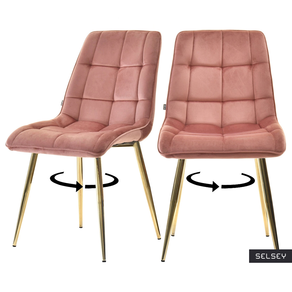 Zestaw dwóch krzeseł tapicerowanych Briare różowe na złotej podstawie obrotowe