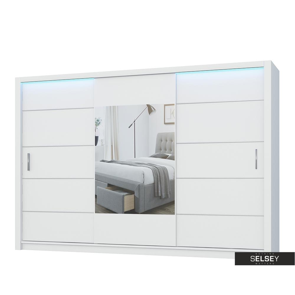 Szafa Ornom 250 cm z lustrem na środku i wstawkami