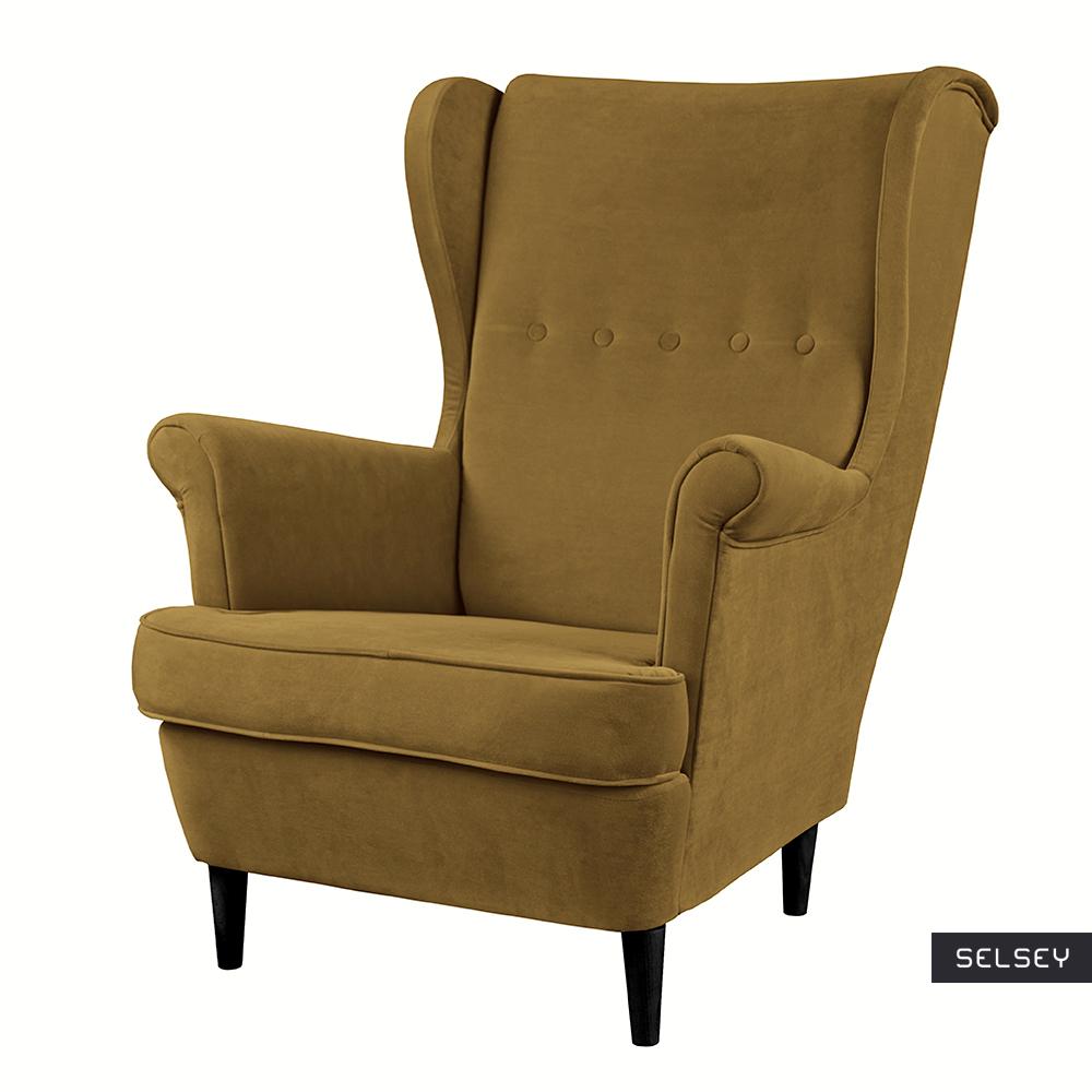 Fotel uszak Malmo khaki w tkaninie Easy Clean