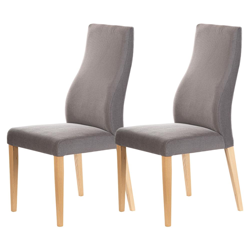 Zestaw dwóch krzeseł tapicerowanych Dreta ciemnoszare w tkaninie łatwoczyszczącej  na bukowej podstawie