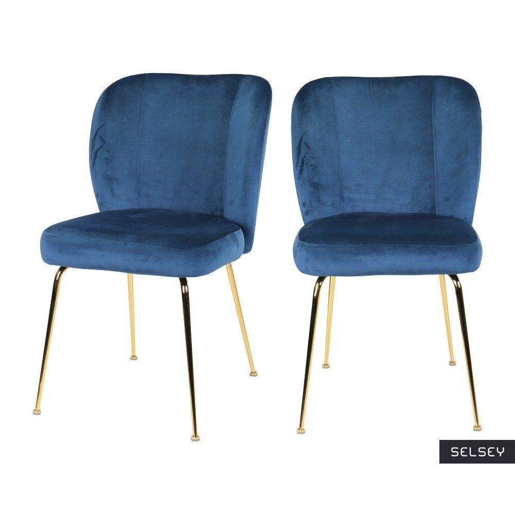 Zestaw dwóch krzeseł tapicerowanych Alruba granatowe na złotych nogach