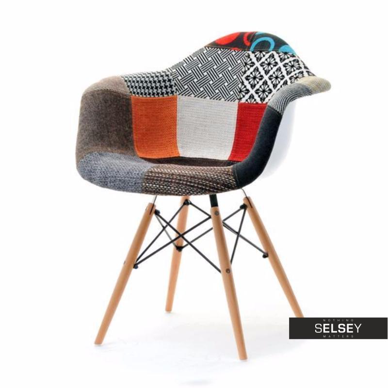 Krzesło MPA wood tap patchwork tapicerowane do jadalni