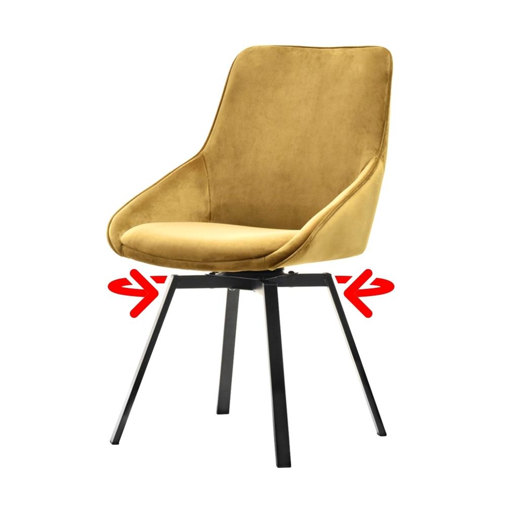 Krzesło tapicerowane Yanii z podłokietnikami złote na czarnej podstawie