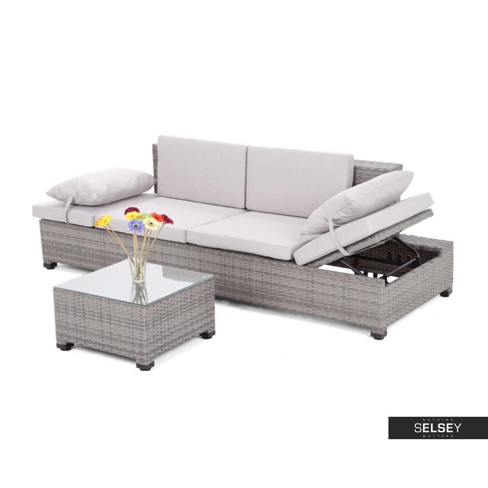 Sofa ogrodowa Milano 2w1 szara ze stolikiem