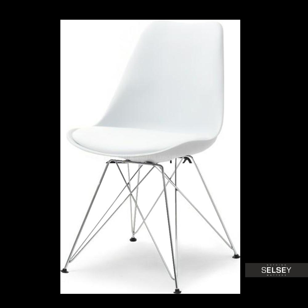 Krzesło Luis rod białe na chromowanej podstawie