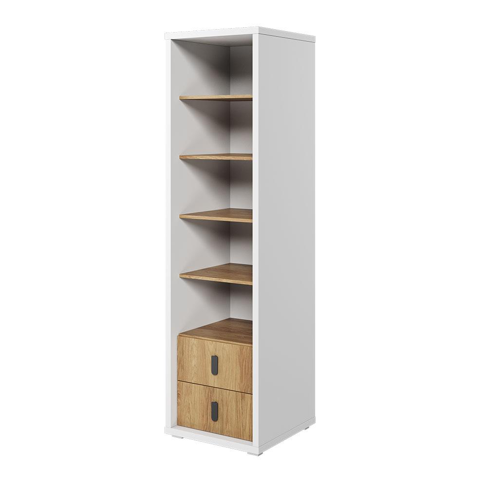 Regał na książki Massi 200 cm z dwiema szufladami