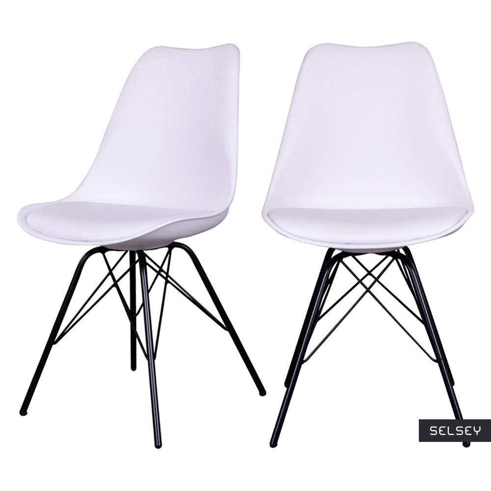 Zestaw dwóch krzeseł Avihu białe na czarnych nogach