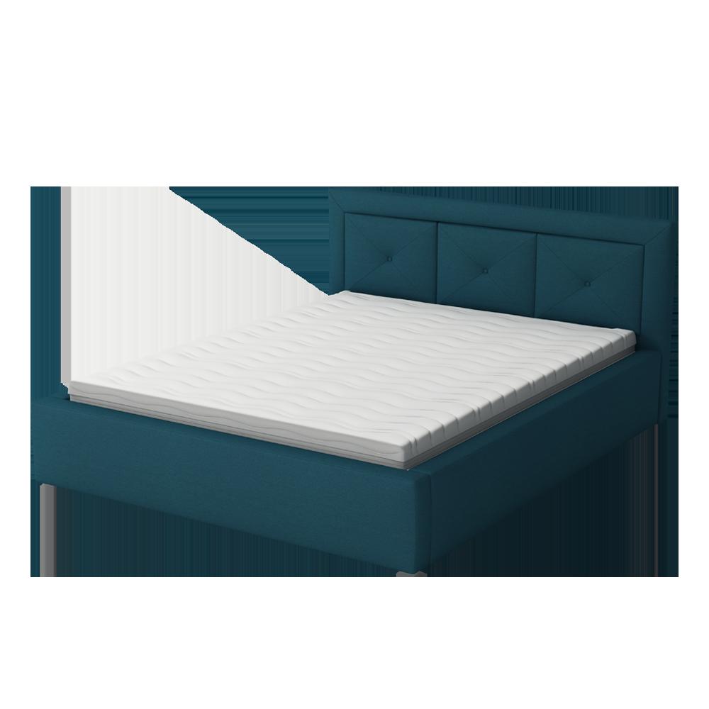 Łóżko tapicerowane Ligma z pikowaniem w zagłówku