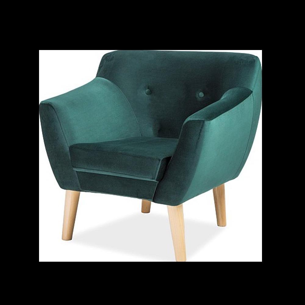 Fotel Lotta turkusowy welur