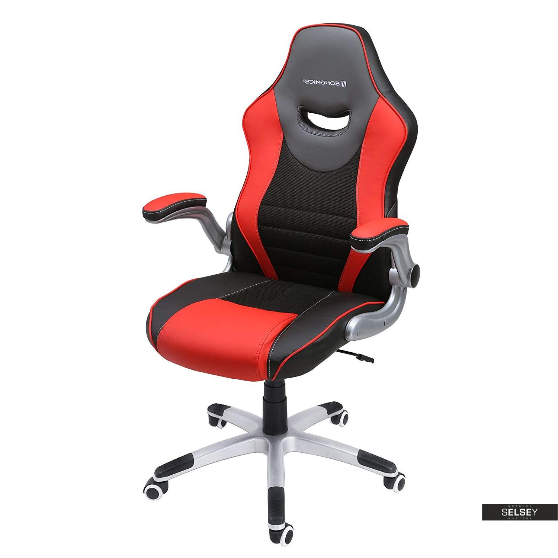 Fotel biurowy Cheryl czarny z czerwonymi wstawkami