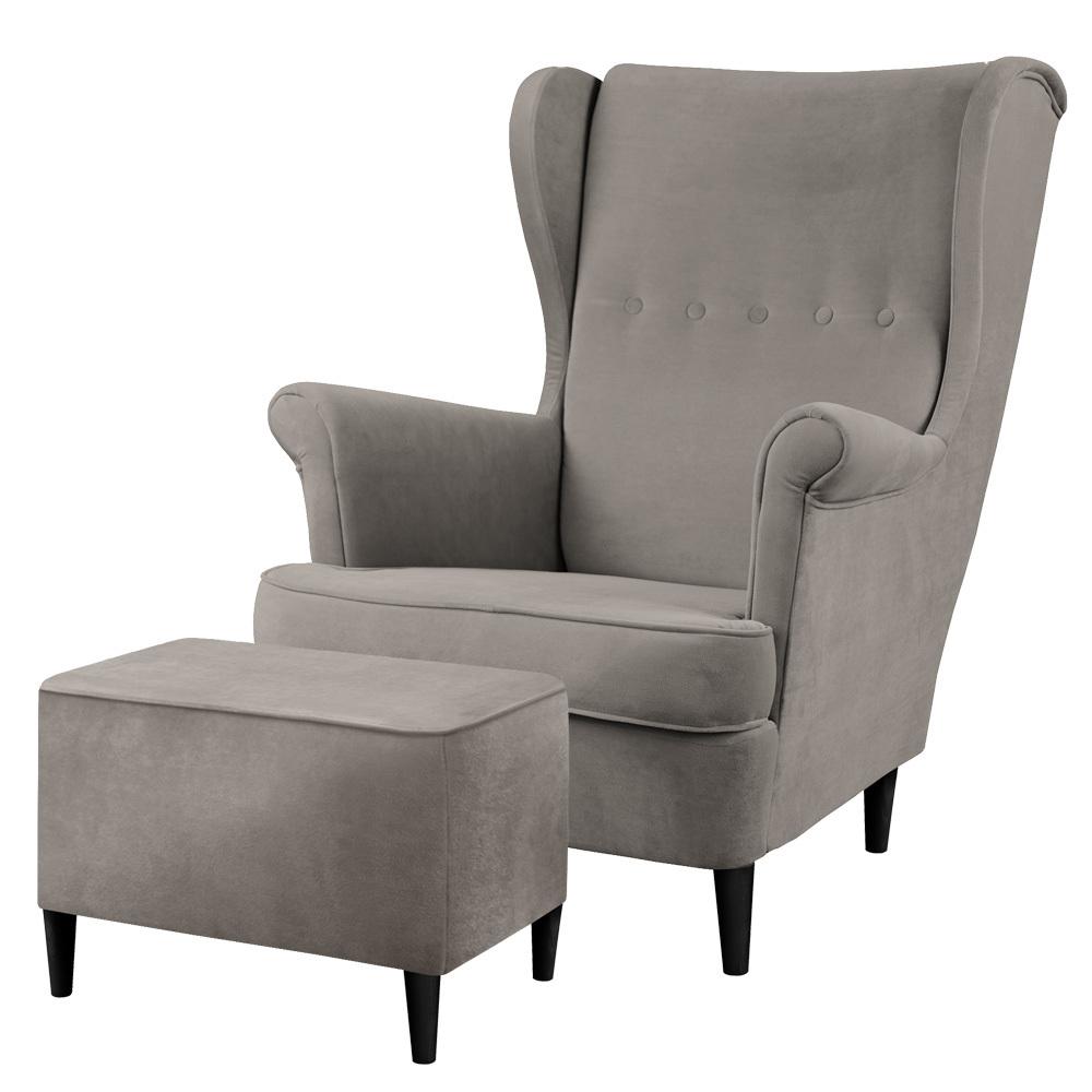 Fotel z podnóżkiem Malmo ciemnoszary w tkaninie Easy Clean