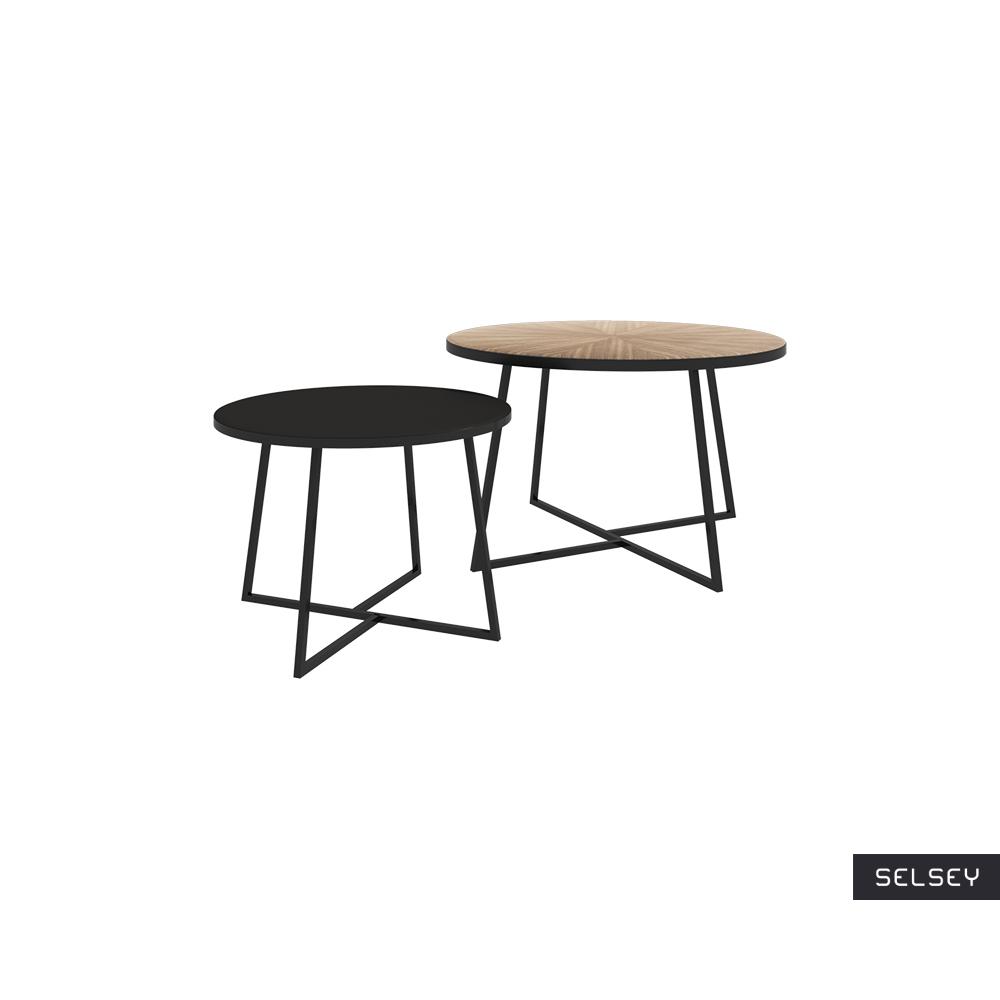 Zestaw dwóch stolików kawowych okrągłych Midgen