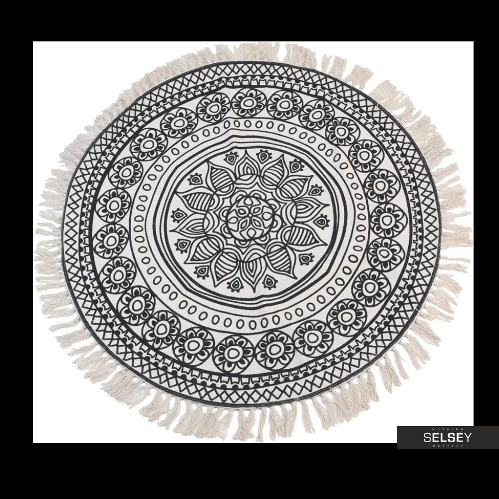 Dywan okrągły z frędzlami ciemny wzór średnica 150 cm wzór 1