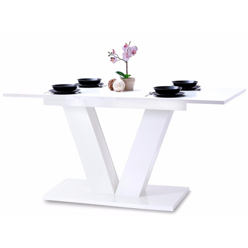 Stół rozkładany Vendig 138-183x90 cm biały połysk do jadalni
