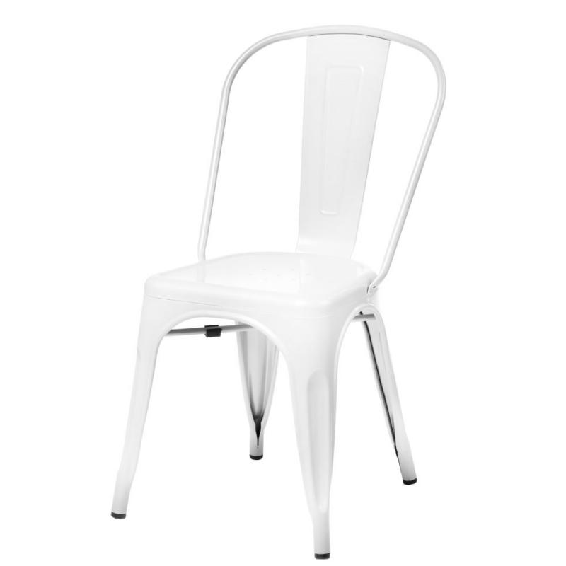 Krzesło Paris białe inspirowane Tolix