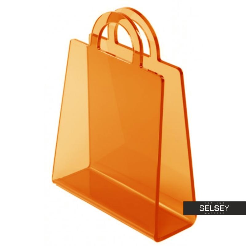 Gazetnik Bolsa pomarańczowy transparentny