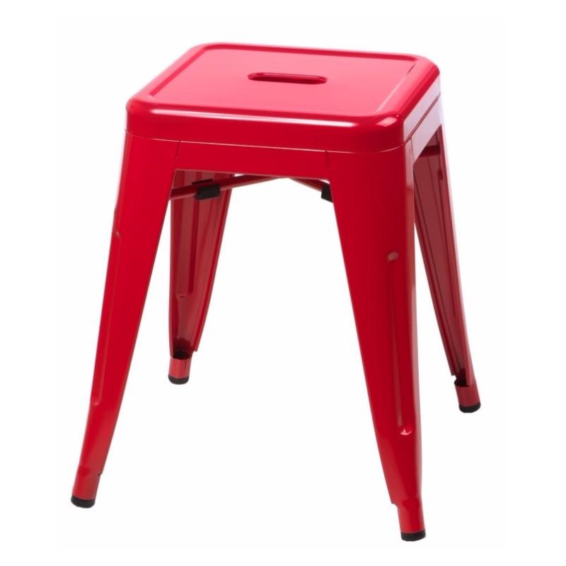 Taboret Paris czerwony inspirowany Tolix