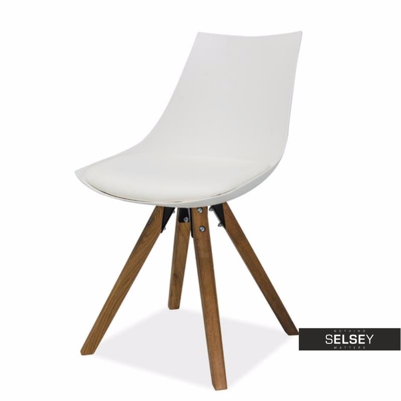 Krzesło Vernon białe na bukowej podstawie