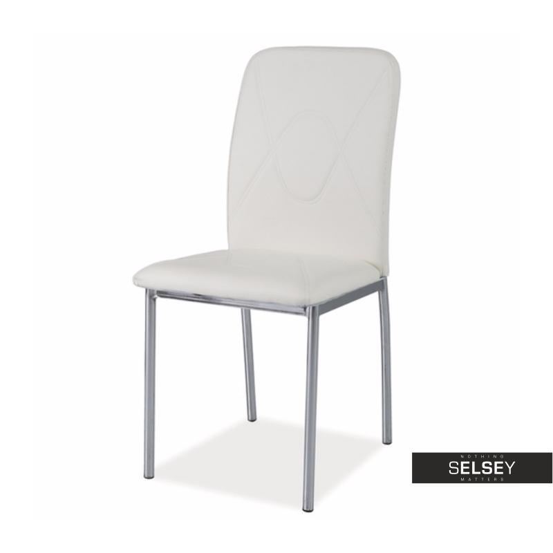 Krzesło Vermont białe na błyszczącej podstawie