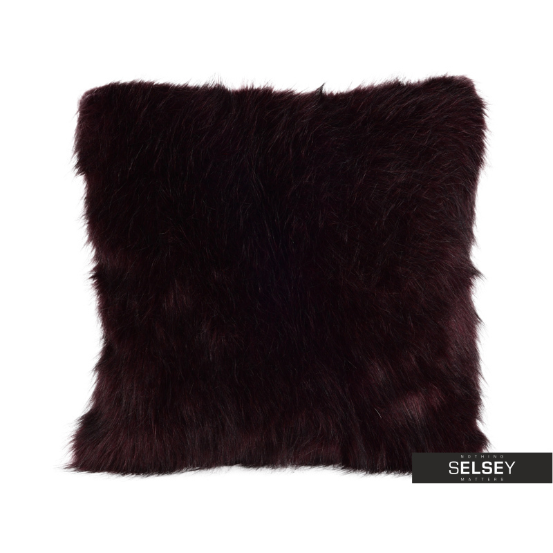Poduszka z poszewką Furry burgund 45x45 cm