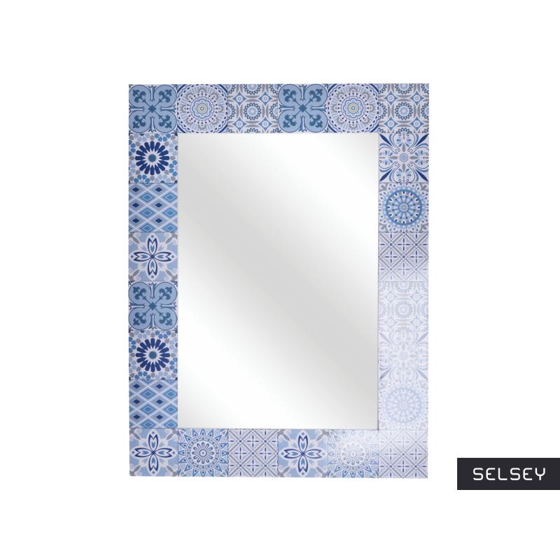 Lustro Lamella 56x42 cm drewniane z niebieską mozaiką