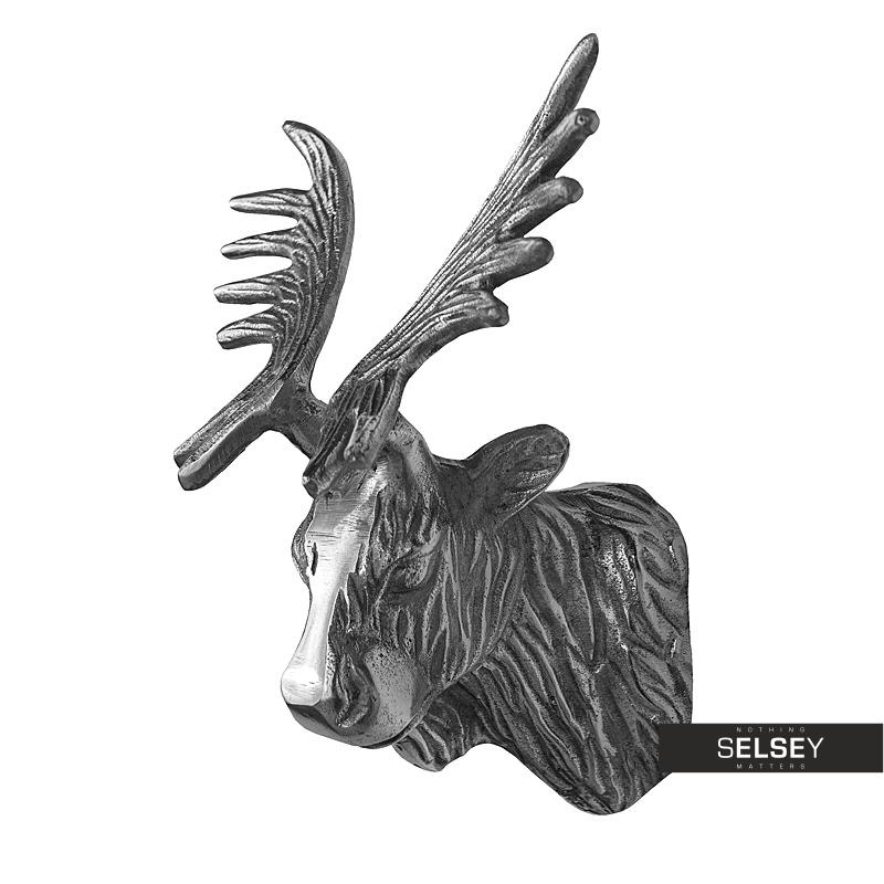 Dekoracja ścienna Głowa łosia 20 cm nikiel