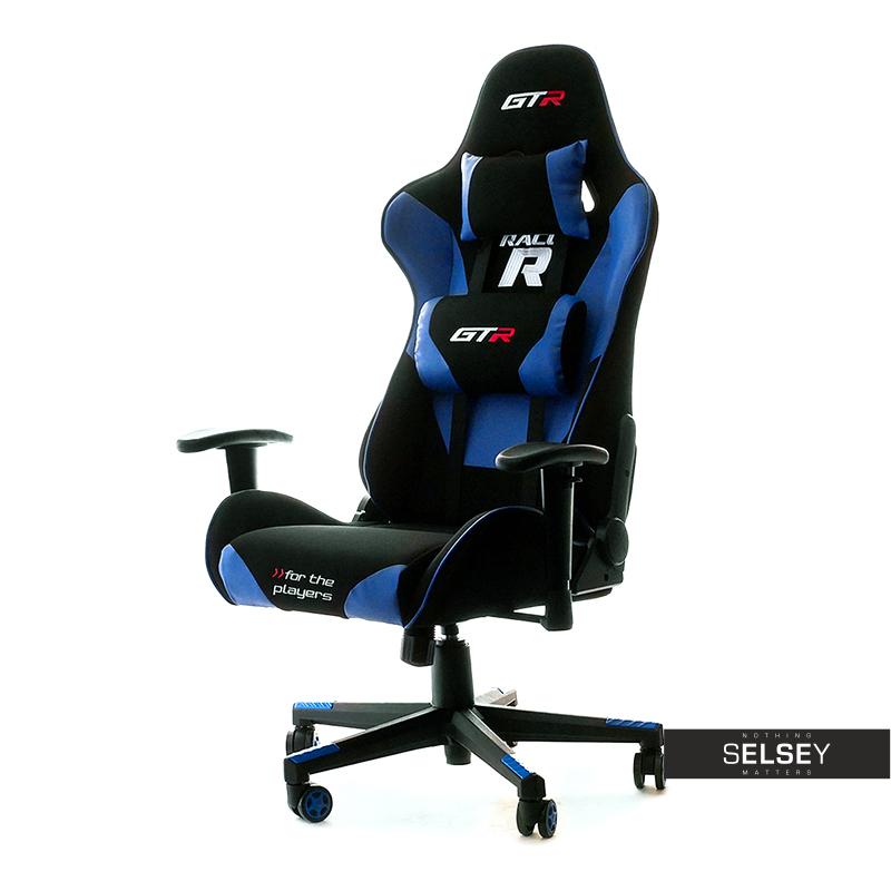 Fotel gamingowy Gadrar II czarno - niebieski z poduszkami