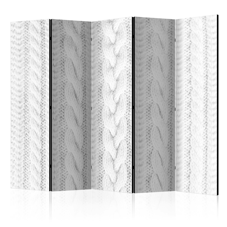 Parawan 5-częściowy - Biały splot