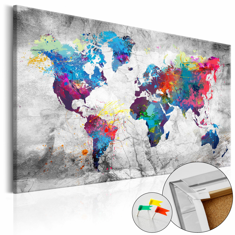 Tablica korkowa Mapa świata: Szary styl