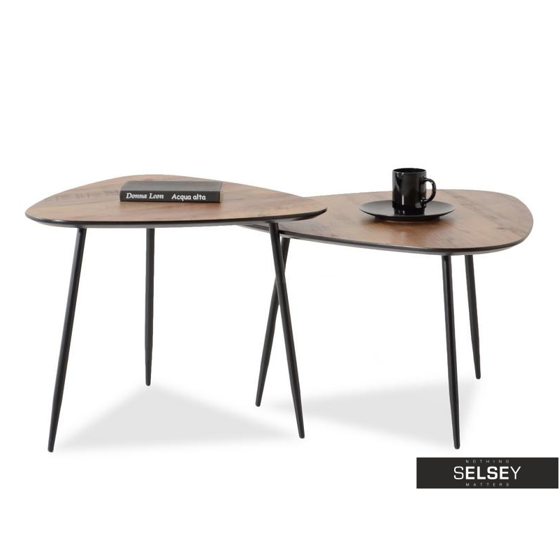 Zestaw stolików kawowych Rosin orzech-czarny 68x65 cm i 59x56 cm