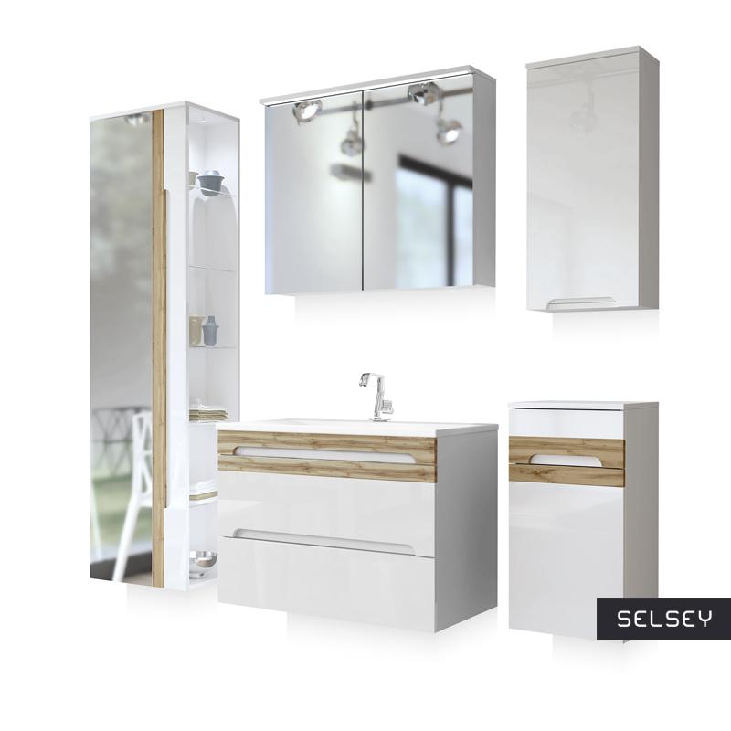 Zestaw mebli łazienkowych Warner z lustrem średni