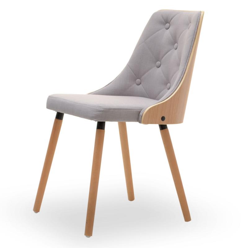 Krzesło Magnum buk - szare z pikowaniem