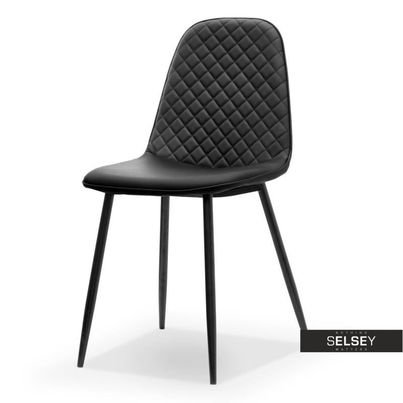Krzesło Skal czarna ekoskóra pikowane
