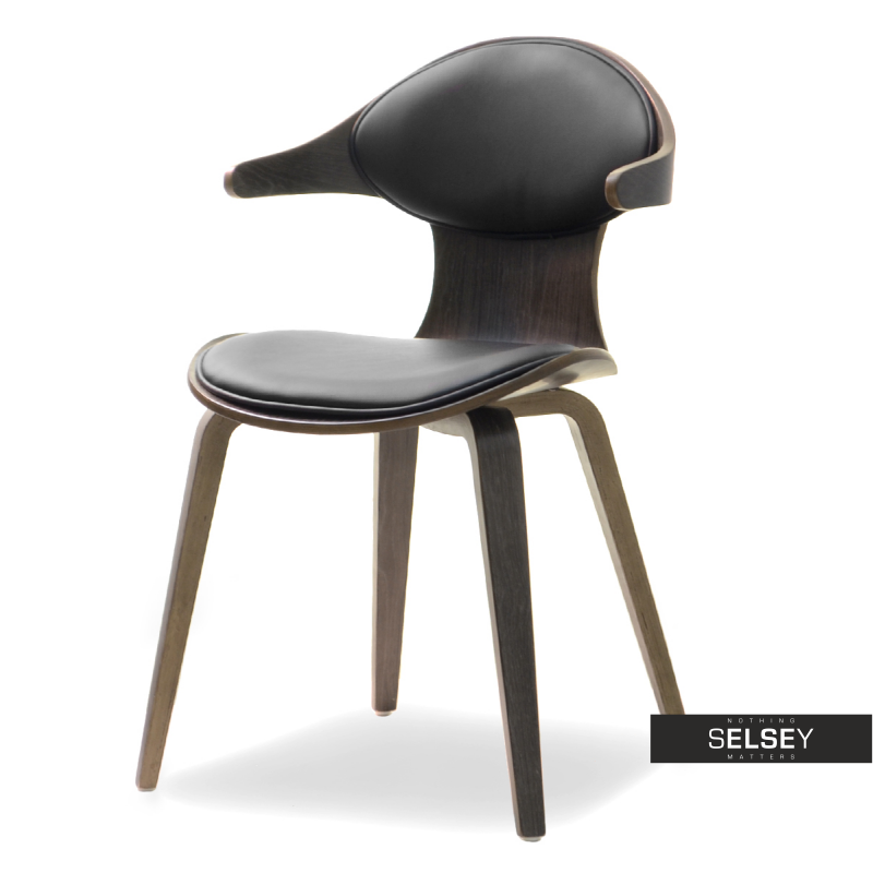 Krzesło Rodeo dąb palony - czarne drewniane