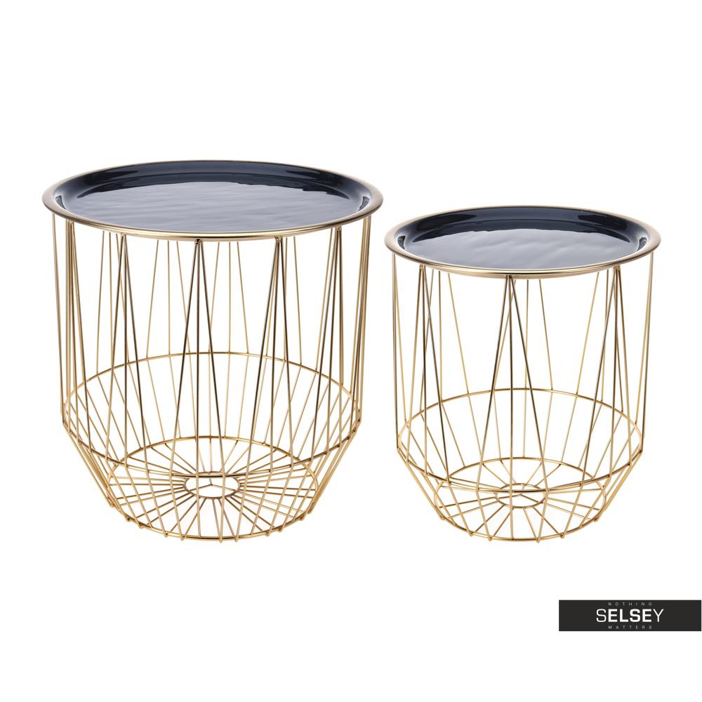Zestaw stolików kawowych Jenna średnica 28 cm i 34 cm czarno - złoty